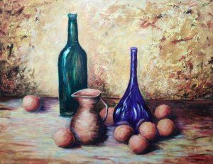 Still life of the purple bottle
