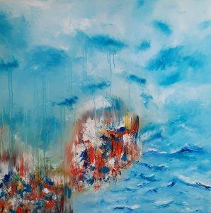 """"""" Lluvia en el mar"""" , 80x80 cm, 270 euros"""