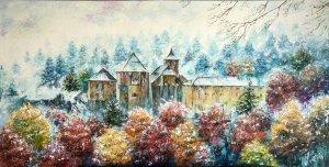 Roncesvalles nevado. Cuadros pintados al óleo de paisajes nevados