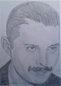 Retrato del cantante Freddie Mercury