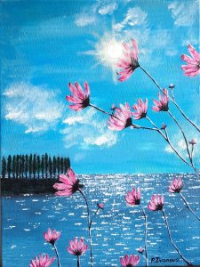 """"""" Sunny day and flowers """" , 40x30 cm, 80 euros"""