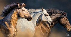 Horses running.