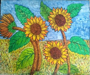 sunflowers and weeds