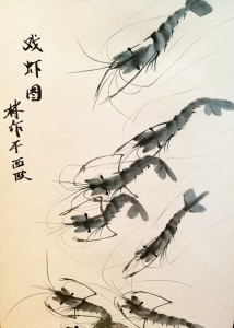 Pintura de gambas a la tinta china