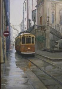 Tram in the rain