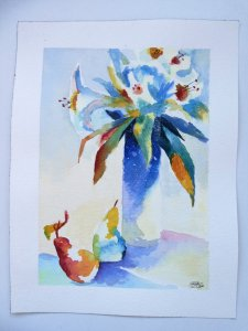 Still life flowers with pears in watercolor