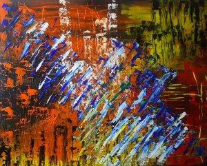 Fantasía de color...lienzo pintado 100x80 cm