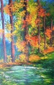Paseo por el bosque...lienzo pintado 60x40 cm