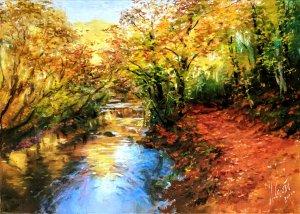 Sierra de Aralar. Country Scenery Oil Paintings - Tree Oil Paintings - Oil Painted Autumn Landscapes