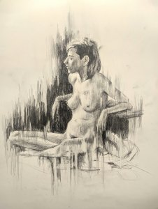 Female human figure. original drawings online
