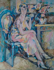 The woman in the armchair
