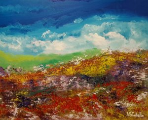 Storm clouds in the flowered field