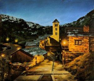 Pal, Andorra. Óleos de casas viejas. Cuadros originales pintados a mano
