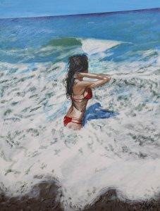 Chica en la playa de Pinedo