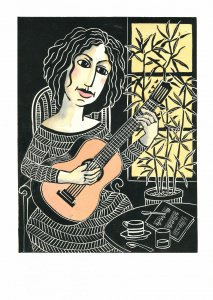 the guitarist, linocut 50x38 cm