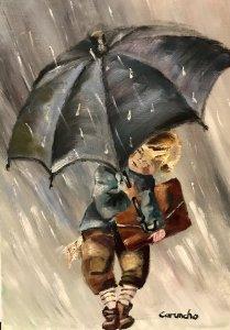 Lluvia camino al colegio