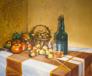 Still life with cider and fruit