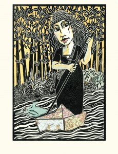 the explorer, original linoleum 50x38 cm