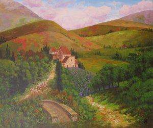 Road and bridge between hills
