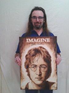JOHN LENNON - IMAGINE - Pyrography / Pyrography - 57 X 40 cm
