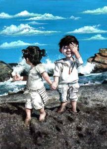 niños en playa