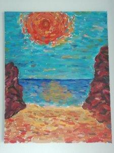 Summer sun on the cliff beach