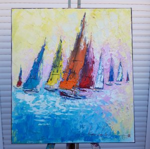 """Oil Painting on Canvas """"The Ships"""" 50x45cm, Abstract Art, High Quality Canvas. Spatula with brush."""