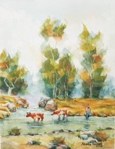 paisaje con animales cruzando rio