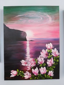 Magnolias at sunset