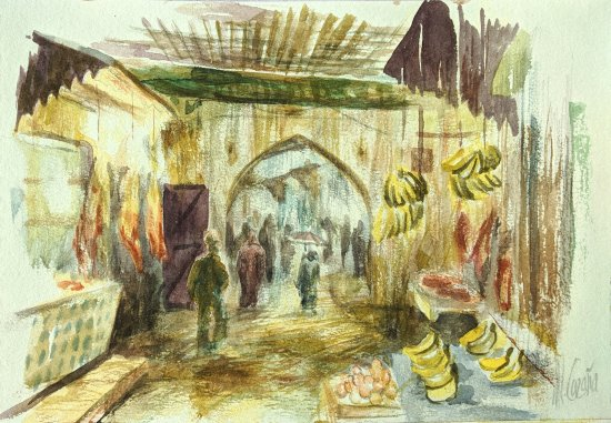 Watercolor of the medina of Fez. Pictures painted by hand
