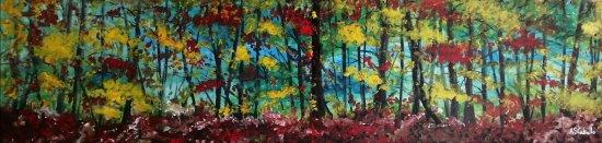 Panorámica en la tarde de un bosque