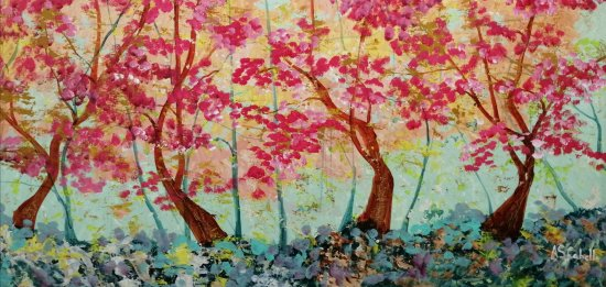 Arboreda rojiza dentro del bosque