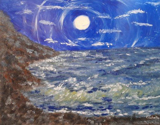 Reflejo en la noche marina