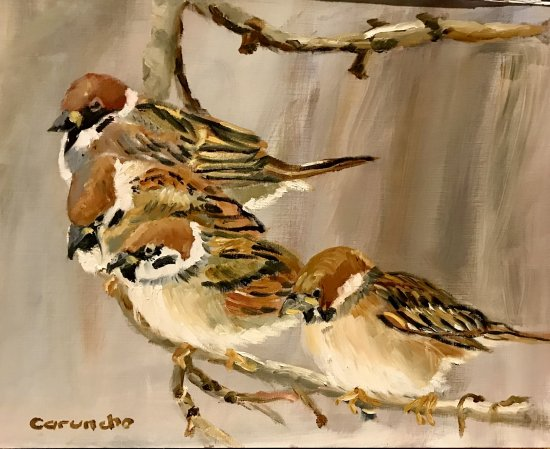 Little birds on the branch