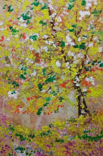 Árbol amarillo en la primavera