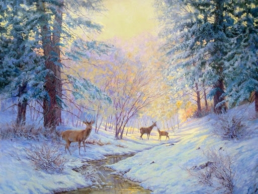 DEER IN SNOWY LANDSCAPE