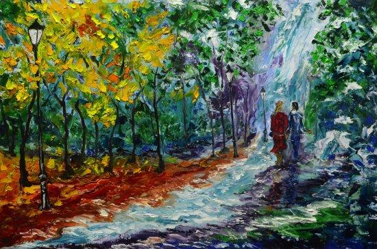 Walking in autumn.