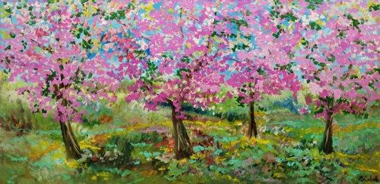 Árboles rosados en primavera