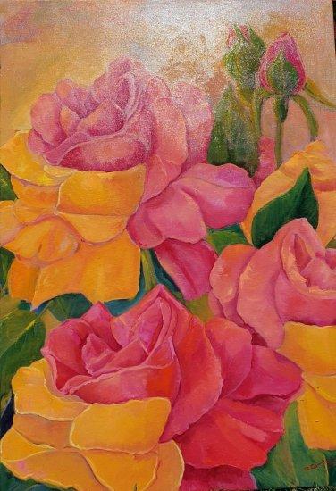 Rosas naranjas y amarillas  100x70