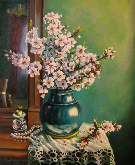 ALMOND WITH FLOWERS STILL LIFE AND PEARLS