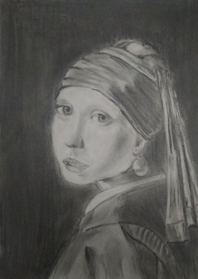 444726a1f7ff The young lady of the pearl according to Vermeer, Pencil, Drawings ...
