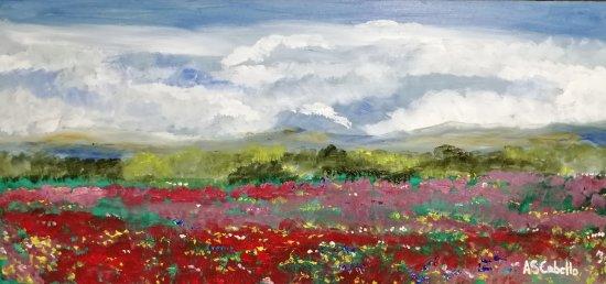 Nubes en el prado con amapolas