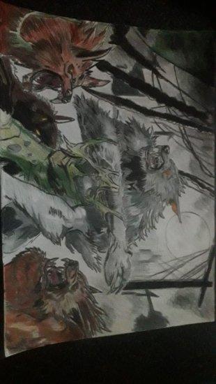 Hombre lobo en la noche