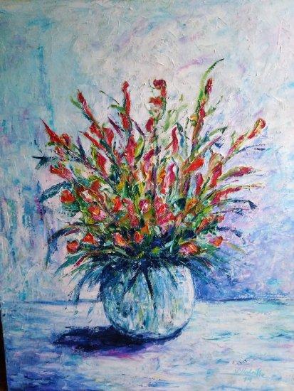 Flores en vasija de cristal