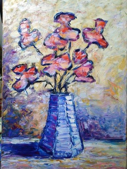 Flowers in hexagonal vase