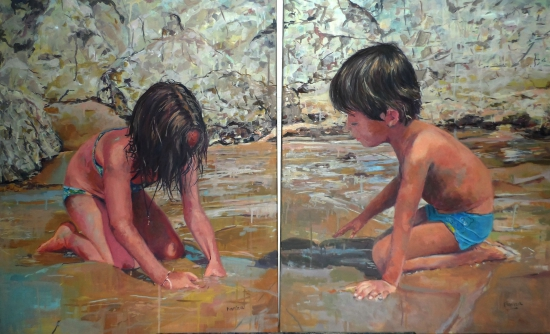 Children in the sand