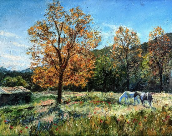 Horses in the nature. Decorative pictures for bedroom