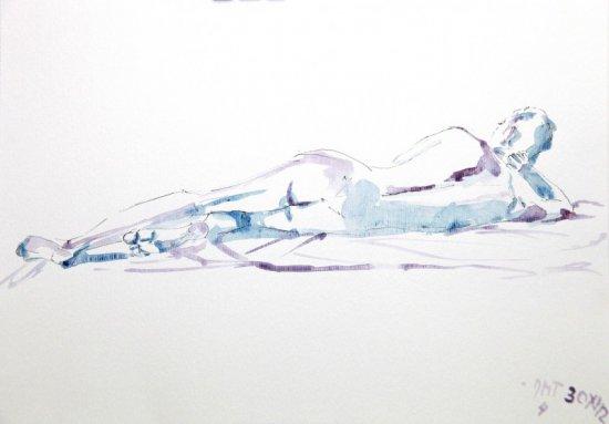 Acuarela desnudo masculino