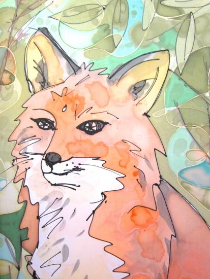 silk scarf red fox