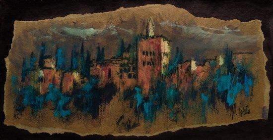 Alhambra of Granada. Original paintings painted by hand